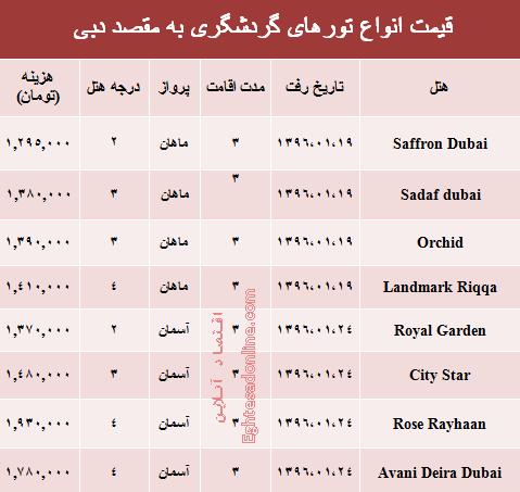 قیمت تور دبی بعد از تعطیلات نوروز ؟ +جدول