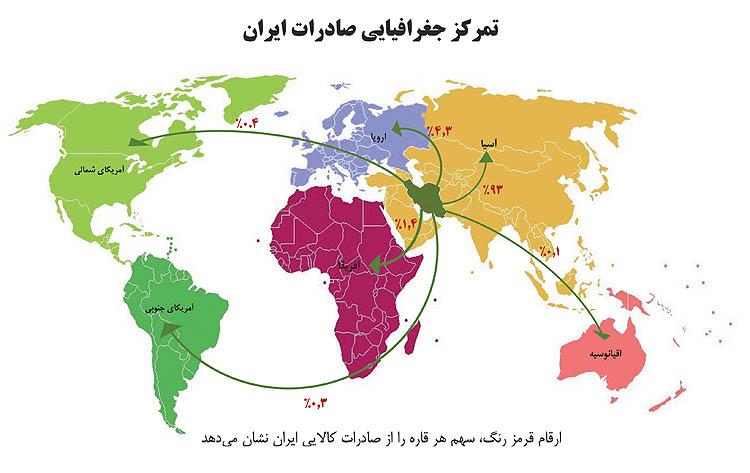 محدوده جغرافیایی تجارت و صادرات ایران-مراوده