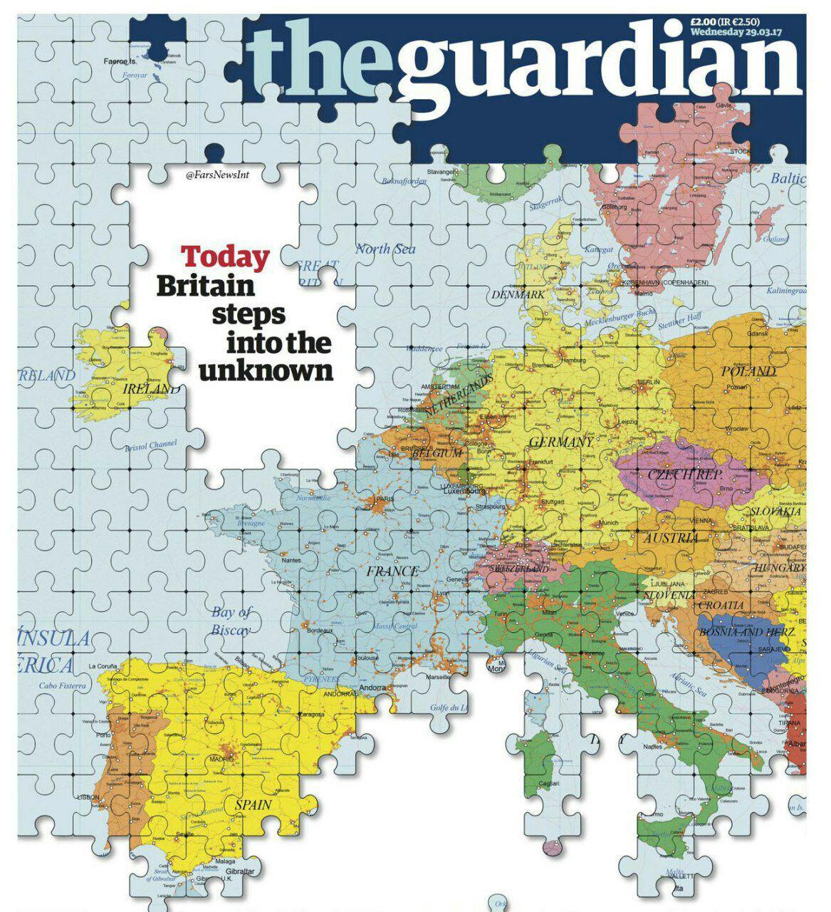 جلد نشریه «گاردین» در واکنش به خروج بریتانیا از اتحادیه اروپا